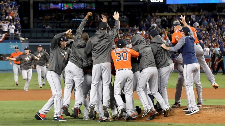 The+Houston+Astros+mob+winning+pitcher+Charlie+Morton+in+2017+following+their+World+Series+victory.+However%2C+now+a+conviction+of+cheating+puts+an+asterix+next+to+the+Astros%27+title+for+the+rest+of+time.