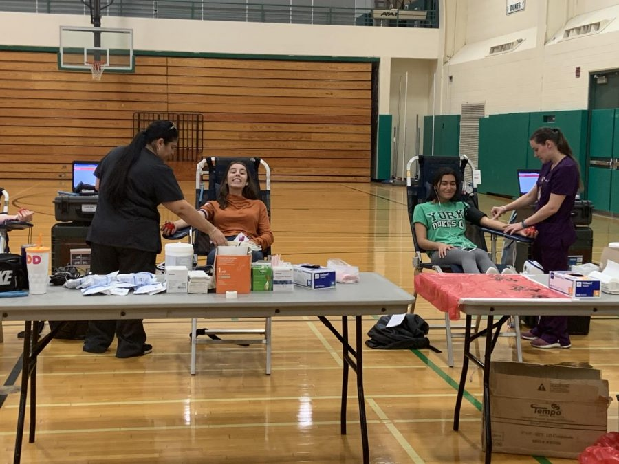 Junior Giana Gatti and sophomore Angelina Cervantes were two of the many donors at the blood drive on Oct. 29 that broke the record for the most donations.