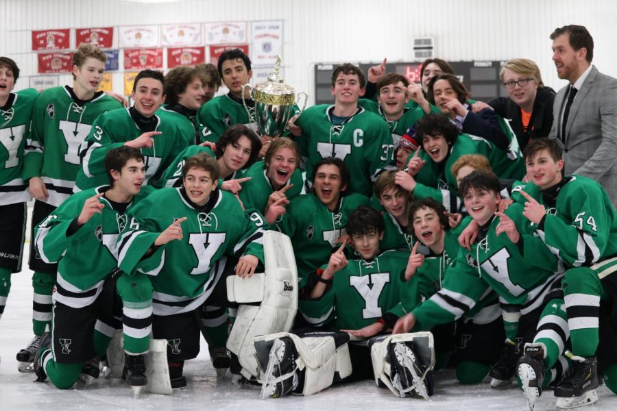 The team celebrates their second consecutive SHL championship win.