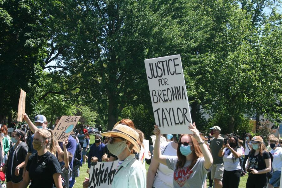 Following the first Black Lives Matter protest in Elmhurst, residents march and listen to speeches in Wilder Park.