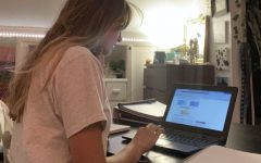 Senior Allie Sidio works on schoolwork asynchronously from the comfort of her home.