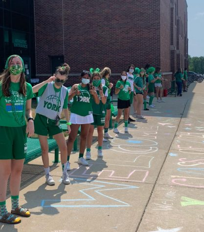 Upperclassmen prepare to greet freshmen on their first day. Aug. 24, 2020.