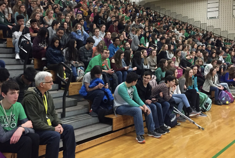 York students converse in a 2018 assembly.