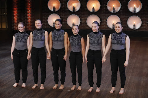 """Competitive dance team, """"The Difference"""", stands in anticipation as the judges give feedback for their piece in the callback round on """"World of Dance""""."""