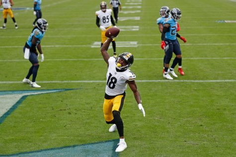 Diontae Johnson of the 6-0 Steelers celebrates a touchdown against the Tennessee Titans.