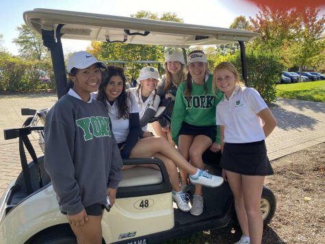 "Girls Varsity Golf Team, seniors Julia Filosa, Jenna Hughes, Nora Foley, Lauren Keith, and Elle Borchardt and junior Audrey Matias, after winning their tournament at Sectionals. ""It stinks that there's no state, but playing at sectionals was still a fun way to end the season,"" Hughes said."