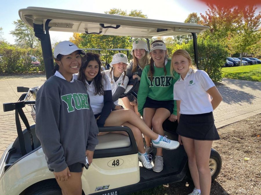 """Girls Varsity Golf Team, seniors Julia Filosa, Jenna Hughes, Nora Foley, Lauren Keith, and Elle Borchardt and junior Audrey Matias, after winning their tournament at Sectionals. """"It stinks that there's no state, but playing at sectionals was still a fun way to end the season,"""" Hughes said."""