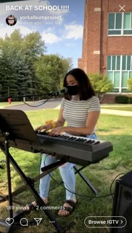 Senior Juliana Suarez performs a cover of Falling by Harry Styles for YorkAtHome Live Thursday Sept. 24.
