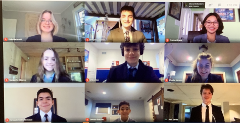 Novice members of the York Speech Team pose for a group picture after attending their first tournament awards ceremony. Top Row (Left to Right): Delia Marianetti, Benjamin Plaisted and Andrea Alcarez. Middle Row: Marguerite DiMarco, Myles Dow and Phoebe Stergios. Bottom Row: Fernando Valdez Nicholson, Dawson Dettman and Jack Davies