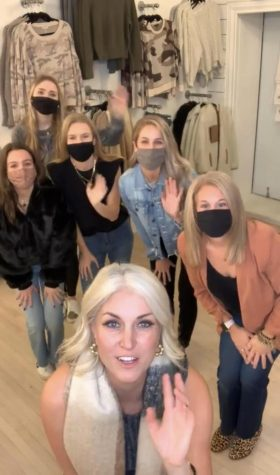 Kie&Kate owner Kati Kemph is joined by York teachers Mrs. Martinelli and Mrs. Samp, as well as Fashion Club board members Piper Michalski, Emma Johnson, and Cara Well, who all modeled cute quarantine outfits on the Instagram live.