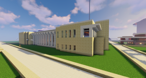 The Elmhurst Public Library Minecraft server involves many creative buildings, including a scale replica of the library itself.