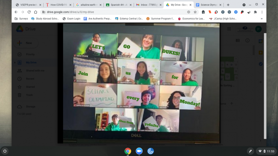 """Returning members from the Science Olympiad Team meet virtually to encourage students to join Science Olympiad. """"We took a really silly group picture for the pep rally where Ms. Ferhati photoshopped 'Join Science Olympiad' on pieces of paper we held up and it turned out really nice!"""" senior Ava Hollis said."""