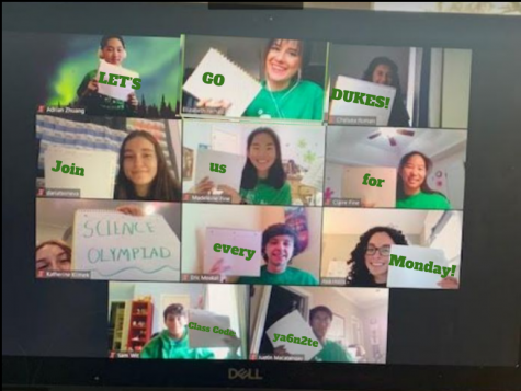 "Returning members from the Science Olympiad Team meet virtually to encourage students to join Science Olympiad. ""We took a really silly group picture for the pep rally where Ms. Ferhati photoshopped 'Join Science Olympiad' on pieces of paper we held up and it turned out really nice!"" senior Ava Hollis said."