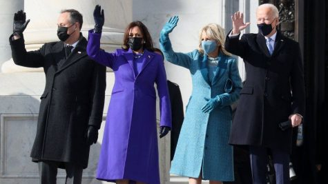 President and Dr.Biden standing with Vice President Kamala Harris and her husband Doug Emhoff on inauguration day