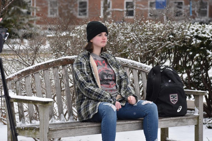 Romaine Patterson, played by freshman Delia Marianetti, reflects back on her friendship and experiences with Matthew Shepard.