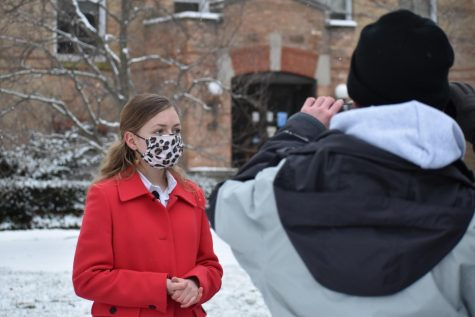 """Freshman Noley Hanna prepares for her first take as new reporter Tiffany Edwards in """"The Laramie Project"""". Students and directors recently began filming outdoors around Elmhurst. The film is set to premiere to the community in the upcoming months."""