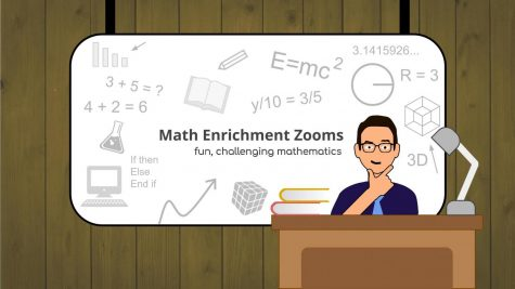 The cover of a pamphlet promoting Math Enrichment Zooms for seventh and eighth graders prepared by junior Andrew Brooks.
