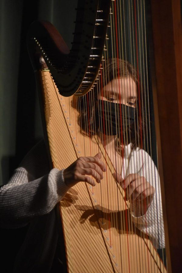 During the first week of March, the York Live student musicians pre record their pieces. Taylor Headley accompanied junior Grace Stewart's vocals on the harp. The duo performed Beyonce's