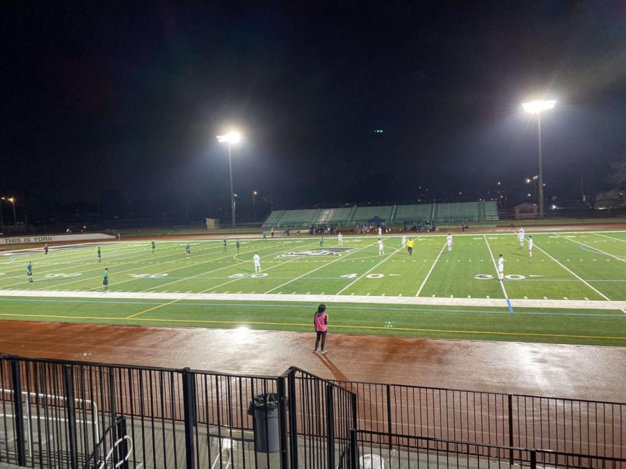 The York Girls Soccer Team participates in pre-season work before their tryouts on April 5. Several soccer athletes were quarantined due to COVID-19 exposure.