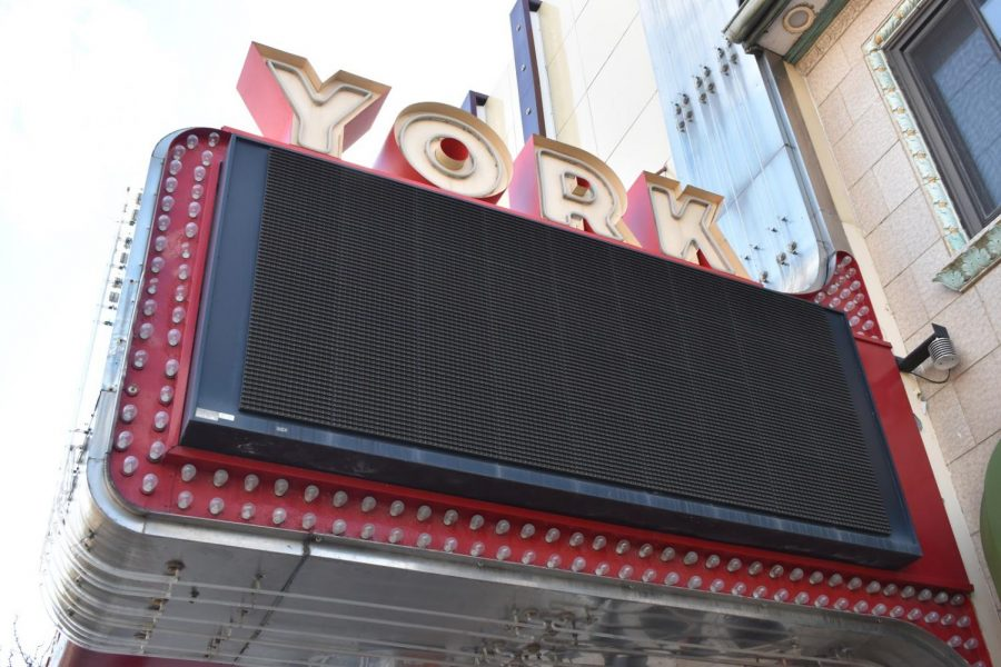 The York Classic Cinemas movie theater sign appears dark after Illinois Governor J.B. Pritzker issued a stay-at-home order on March 20, 2020. March 20, 2020.