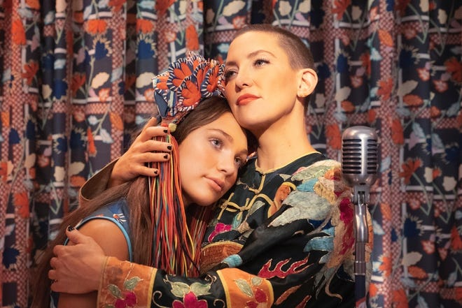Actors Maddie Ziegler (Music) and Kate Hudson (Zu) in a publicity photo for