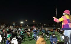 The Pep Band performs at last week's football game. After a year of not performing, the York Marching Band is more excited than ever to perform at football games and future events.