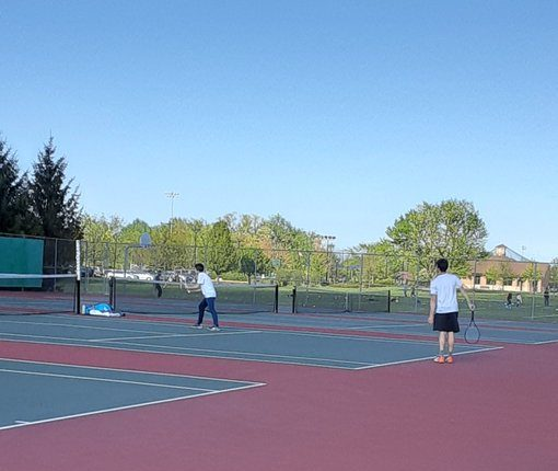 York Boys Varsity Tennis finished with an overall win against Downers Grove North. May 6, 2021.