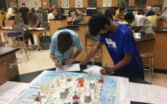 Freshmen work on their final summer school project for the Freshman Bridge Academy class. July 2, 2021.