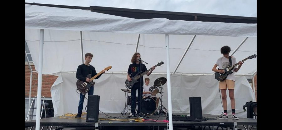 The Parasites perform at the Elmhurst Pride Fest on June 26, 2021.