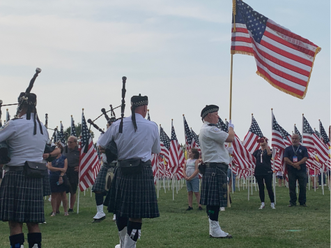 The Bagpipes & Drums of the Emerald Society, a group that specializes in musical performances for police and firefighter memorials, honors the lives lost on September 11, 2001.