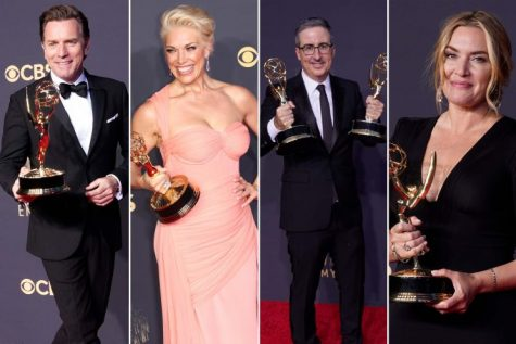 2021 Emmy winners pose with their recently presented awards.